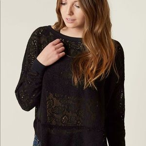 Free People Lace Black Top